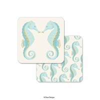 "Pack of 10 4"" Aqua Seahorse Coasters"