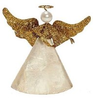 "5"" White Capiz Angel With Gold Glitter Wings"