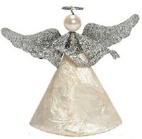 "5"" White Capiz Angel With Silver Glitter Wings"