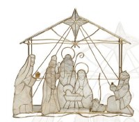 "7"" White Capiz Nativity Scene"