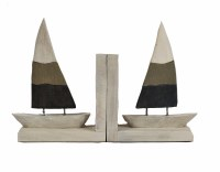 "11"" Natural Brown and Blue Whitewashed Wood Sailboat Bookends"