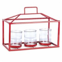 """8"""" Red Triple Votive Rectangle Candle Holder"""