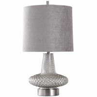 """29"""" Silver Bumpy Glass Lamp With A Grey Shade"""