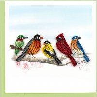 """6x6"""" Quilling Multicolor Songbirds Greeting Card"""