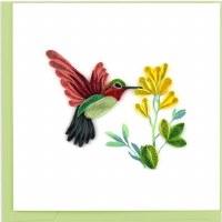 "6x6"" Quilling Hummingbird Greeting Card"