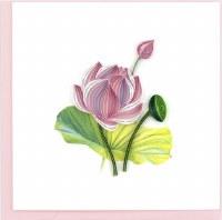 """6x6"""" Quilling Pink Lotus Greeting Card"""