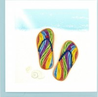 """6x6"""" Quilling Colorful Flip Flop Greeting Card"""