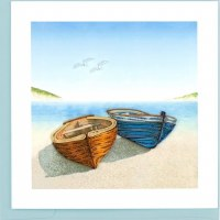 """6x6"""" Quilling Boats on Shore Greeting Card"""