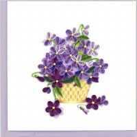 """6x6"""" Quilling Violet Bouquet Greeting Card"""