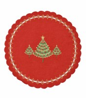 "16"" Round Green Tree On Red Table Mat"