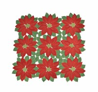 """34"""" Square Red Poinsettias With Green Leaves Table Topper"""