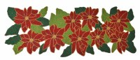 "36"" Red Poinsettia With Leaves Beaded Runner"