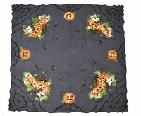 "33.5"" Square Gray Halloween Table Topper"