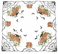 """33.5"""" Square White Halloween Table Topper"""