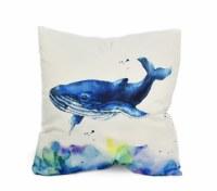 "18"" Square Blue Whale Pillow"