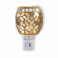 "5"" Silver and Gold Glass Mosaic Night Light"