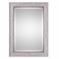 """37"""" x 27"""" White Washed and Brown Wood Mirror"""