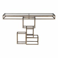 """52"""" Distressed Gold Finish Stacked Rectangle Console"""
