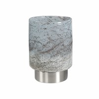 """10"""" Light Gray Glass Vase With a Silver Base"""