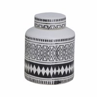 """13"""" Ivory and Dark Brown Tribal Jar With a Lid"""