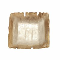 """14"""" Square Gold and Silver Low Metal Bowl"""