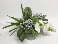 "6"" Faux White Orchids and Gray Brunia in Aqua Pot"