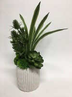 "24"" White Potted Faux Grass and Thistle Succulents"