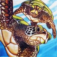 "8"" Square 2 Sea Turtles Tile"