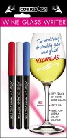 """9"""" Set of 3 Red, White and Blue Wine Glass Pens"""