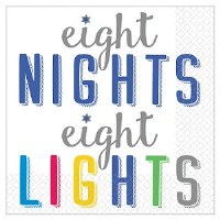 "5"" Square Eight Nights and Lights Paper Beverage Napkins"