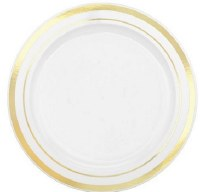 "6"" Pack of 20 White and Gold Plastic Plates"