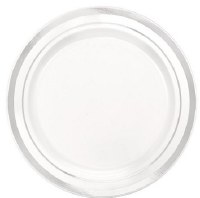 "6"" Pack of 20 White and Silver Plastic Plates"