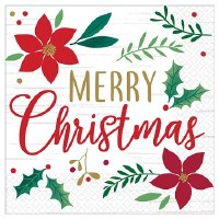 """7"""" Square Merry Christmas Paper Luncheon Napkins"""