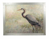 """41"""" x 51"""" Grey and Blue Heron Famed on Canvas"""