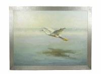 "36"" x 48"" White Egret Over Water Framed On Canvas"