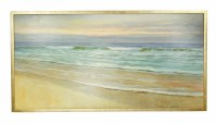 """29"""" x 56"""" Shoreline With Small Waves Famed On Canvas"""