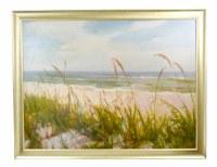 "41"" x 53"" Green Sea Oats On The Beach On Canvas"