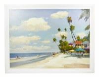 """36"""" x 48""""  Beach Cafe Framed on Canvas"""