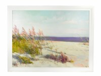 "36"" x 48"" Pink Sea Oats On The Beach Framed on Canvas"