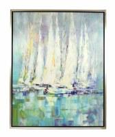 "50"" x 40"" White Sailboat Cluster Framed on Canvas"