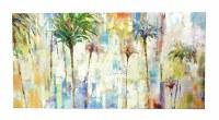"27"" x 54"" Multicolor Palms On Canvas"