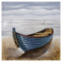 """39"""" Square Blue Rowboat Canvas"""