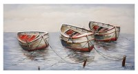 """28"""" x 55"""" Red and White Rowboats Canvas"""