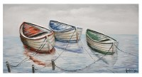 """28"""" x 55"""" Red, Blue and Green Rowboats Canvas"""