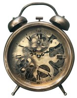 """13"""" Distressed Bronze Finish Moving Gears Table Clock"""