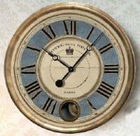 "16"" Round Gold With Blue Face Hotel De La Reine Wall Clock"