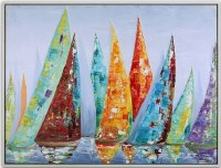 "31"" x 41"" Multicolor Sailboats on Canvas Framed"