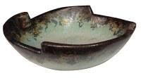 "15"" Round Aqua and Brown Jagged Rim Bowl"