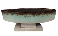 """16"""" Aqua and Brown Oval Footed Bowl"""