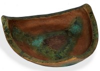 "17"" Copper and Turquoise Triangle Low Bowl"